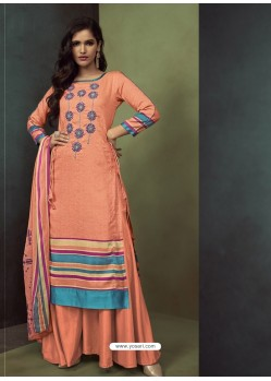 Light Orange Heavy Embroidered Designer Palazzo Suit