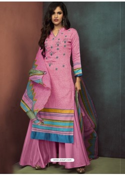 Light Pink Heavy Embroidered Designer Palazzo Suit