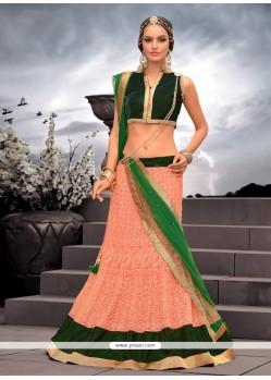 Splendid Peach Net Designer Lehenga Choli
