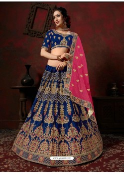Royal Blue Heavy Embroidered Satin Wedding Lehenga Choli