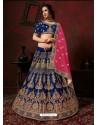 Royal Blue Heavy Embroidered Satin Wedding Lehenga Choli