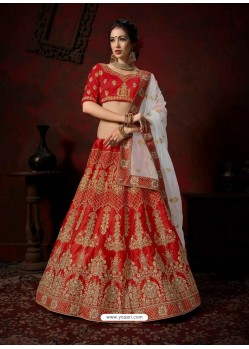 Red Heavy Embroidered Satin Wedding Lehenga Choli