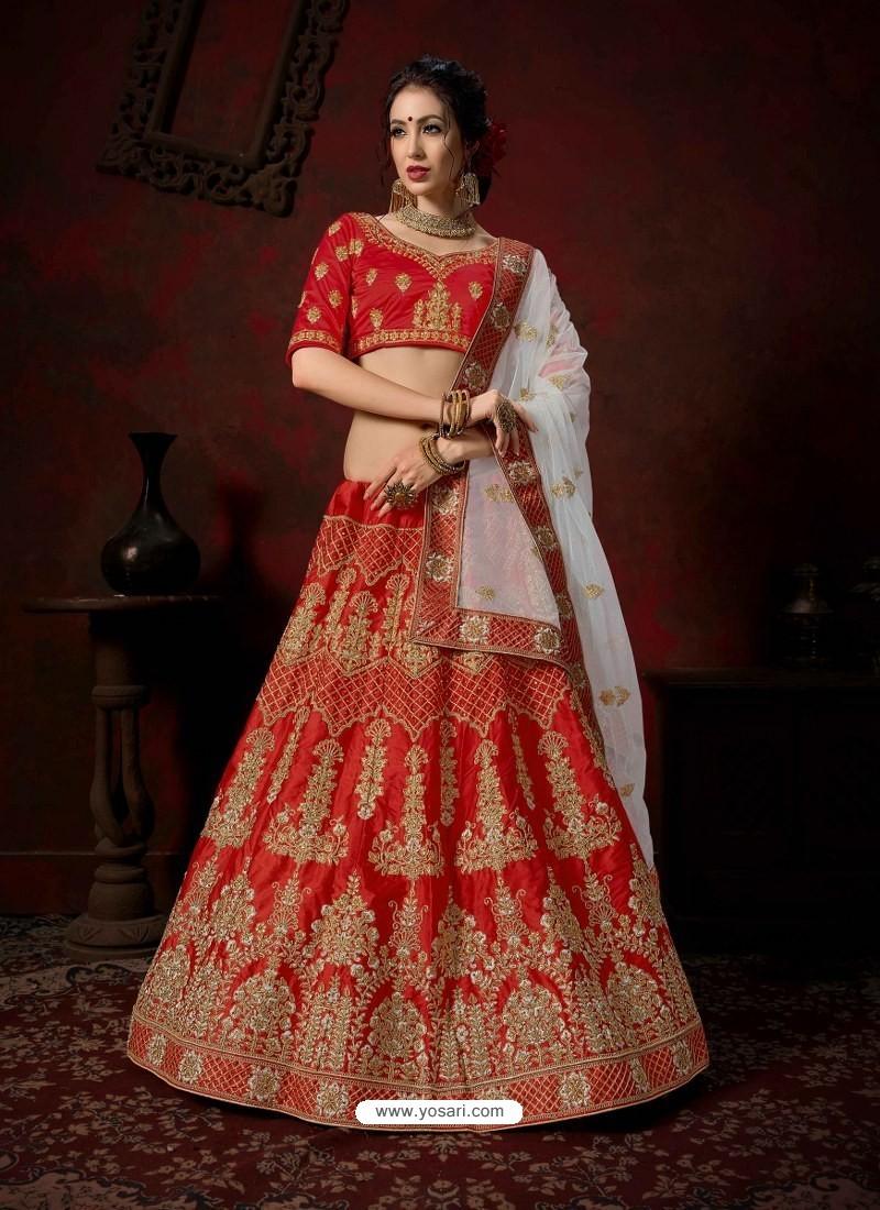 Red Heavy Embroidered Satin Wedding Lehenga Choli