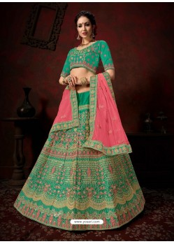 Aqua Mint Heavy Embroidered Satin Wedding Lehenga Choli