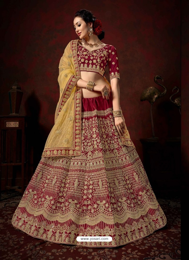 Maroon Heavy Embroidered Satin Wedding Lehenga Choli
