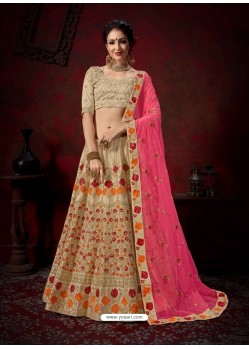 Taupe Heavy Embroidered Satin Wedding Lehenga Choli