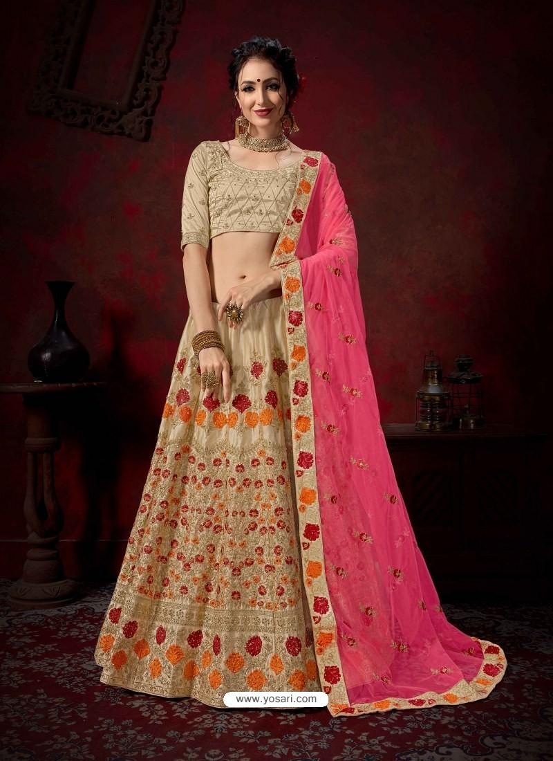 Taupe Heavy Embroidered Satin Wedding Lehenga Choli