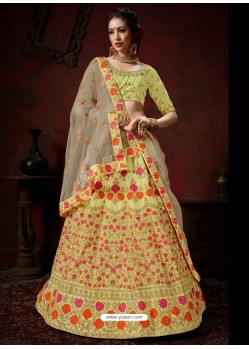 Green Heavy Embroidered Satin Wedding Lehenga Choli