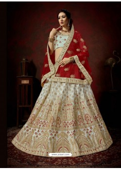 Aqua Grey Heavy Embroidered Satin Wedding Lehenga Choli
