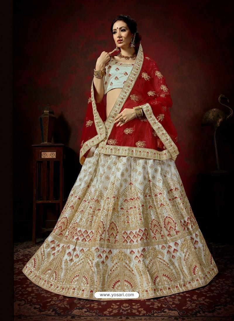 Aqua Grey Heavy Embroidered Satin Wedding Lehenga Choli