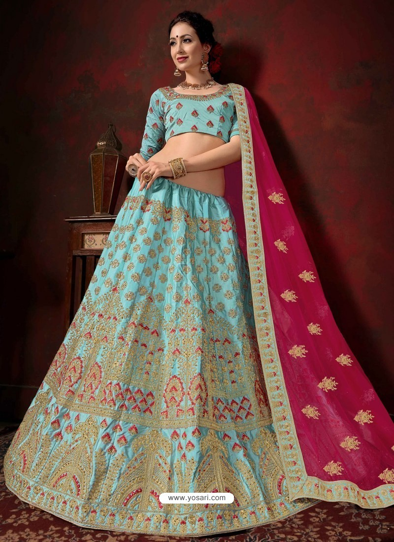 Sky Blue Heavy Embroidered Satin Wedding Lehenga Choli