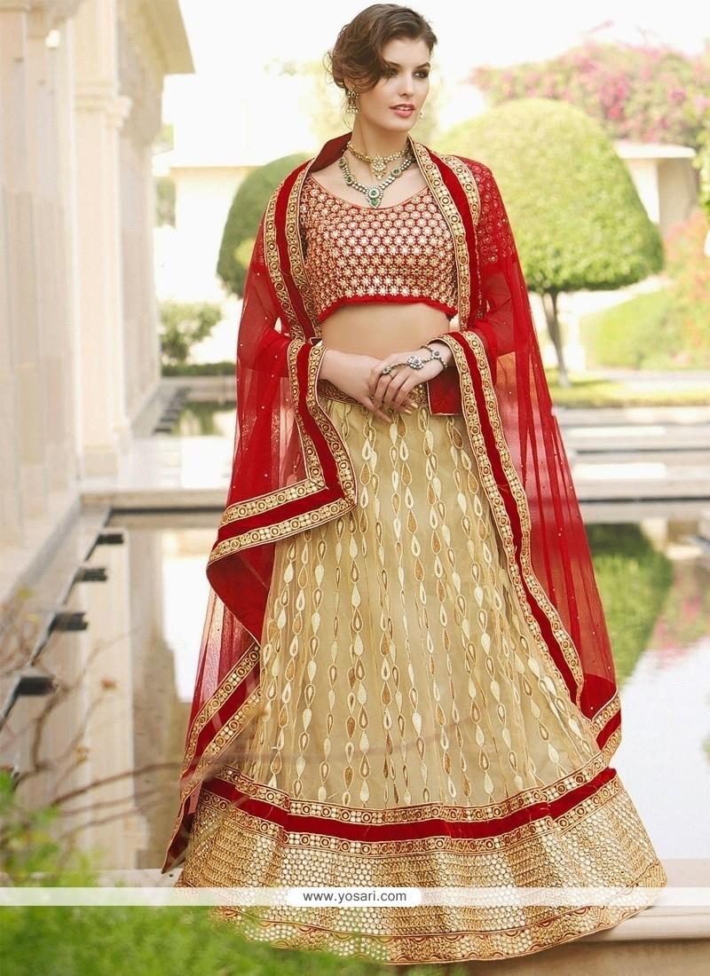 Alluring Cream Net Lehenga Choli