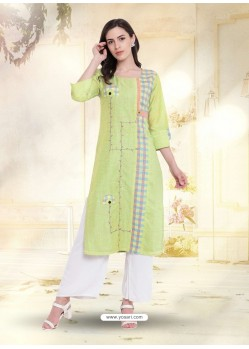 Green South Cotton Embroidered Kurti