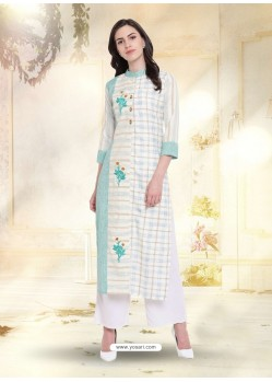 Off White South Cotton Embroidered Kurti
