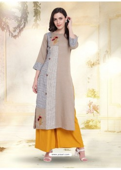 Taupe South Cotton Embroidered Kurti