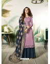 Lavender Satin Silk Thread Embroidered Designer Suit