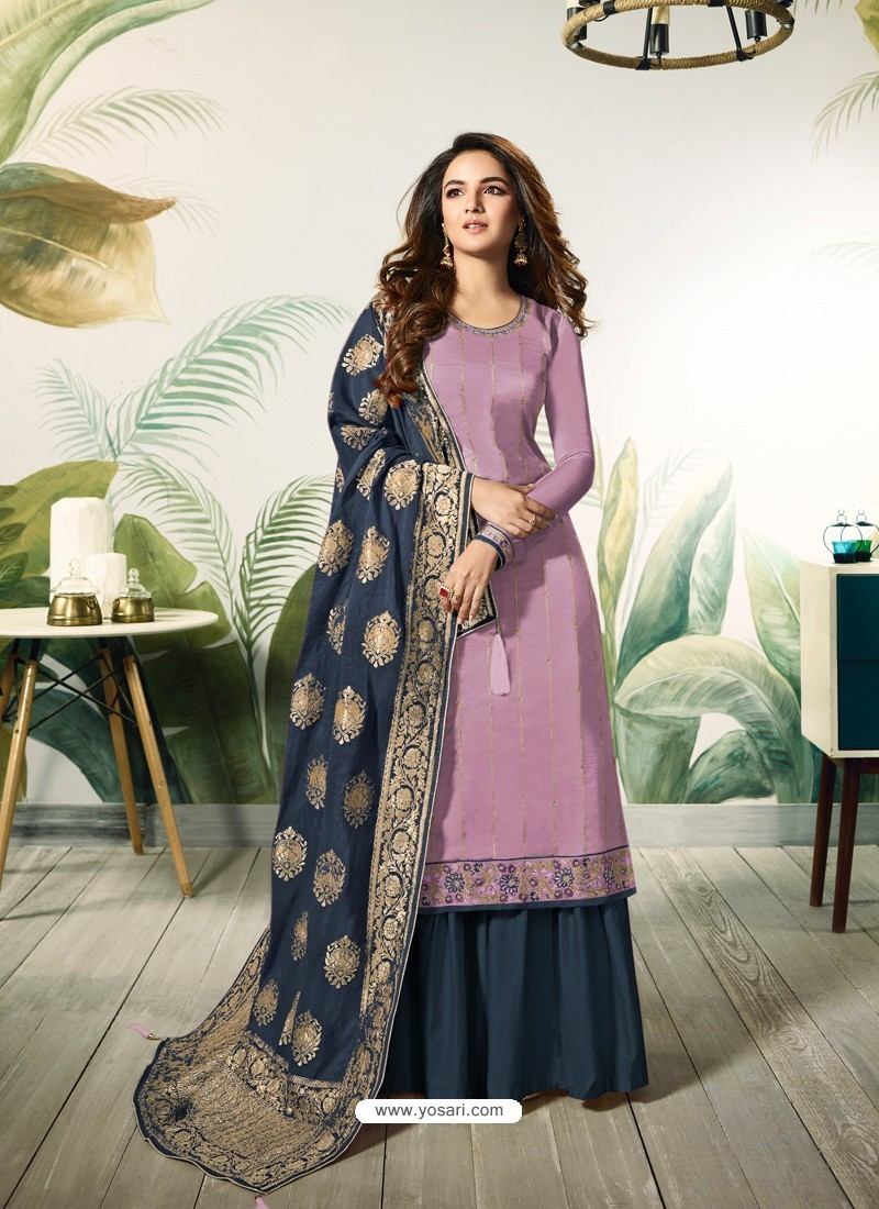 c15bf2b3dc235 Buy Lavender Satin Silk Thread Embroidered Designer Suit | Palazzo ...