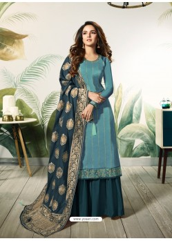 Turquoise Satin Silk Thread Embroidered Designer Suit