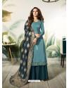Turquoise Satin Silk Thread Embroidered Designer Suit