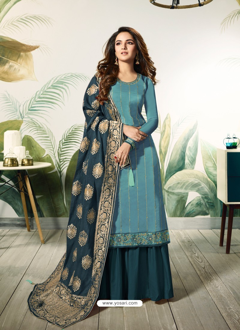 3064c904f0 Buy Turquoise Satin Silk Thread Embroidered Designer Suit | Palazzo ...