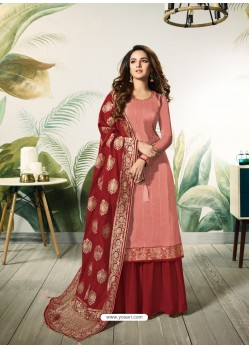 Peach Satin Silk Thread Embroidered Designer Suit