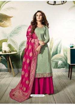 Olive Green Satin Silk Thread Embroidered Designer Suit