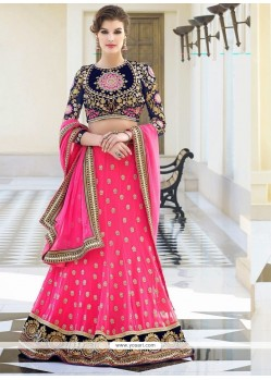 Fabulose Pink Georgette Wedding Lehenga Choli