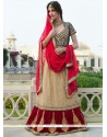Lovely Cream Net Jacquard Lehenga Choli