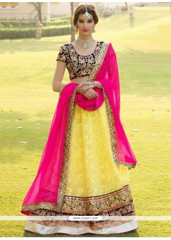 Amazing Yellow Georgette Lehenga Choli