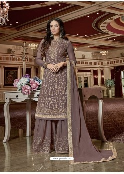 Light Brown Designer Georgette Sharara Suit