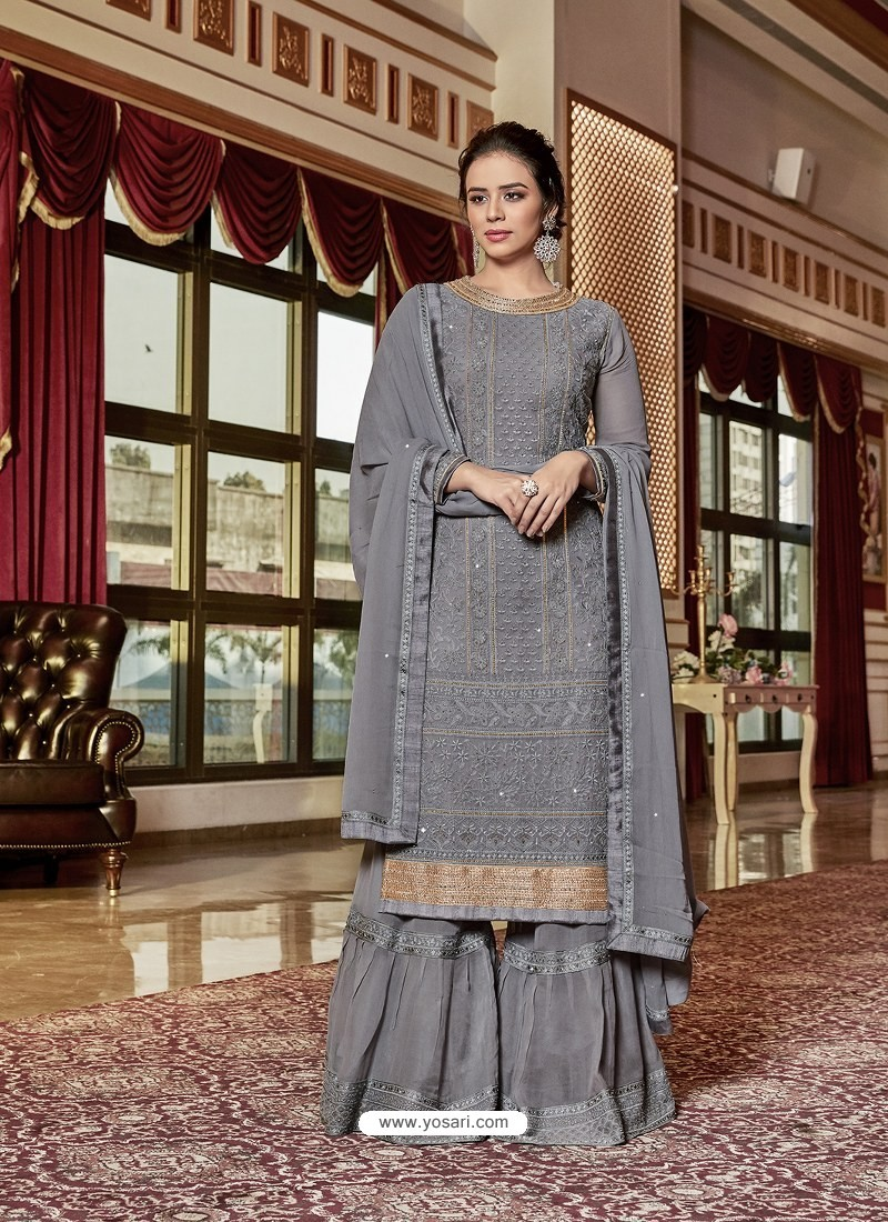 Grey Designer Georgette Sharara Suit