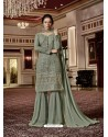 Olive Green Designer Georgette Sharara Suit
