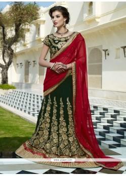 Amazing Green Velvet Designer Lehenga Choli