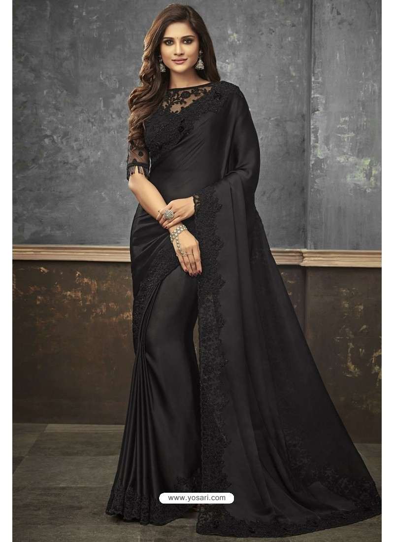 eaf1c90ea2 Buy Black Satin Heavy Embroidered Saree | Party Wear Sarees