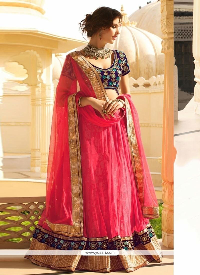 Dazzling Pink Net Jacquard Lehenga Choli