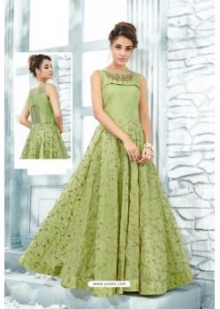 Green Heavy Silk Hand Worked Designer Gown