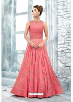 Peach Heavy Silk Hand Worked Designer Gown
