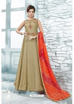 Taupe Heavy Silk Hand Worked Designer Gown