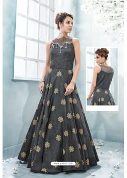 Carbon Heavy Silk Hand Worked Designer Gown