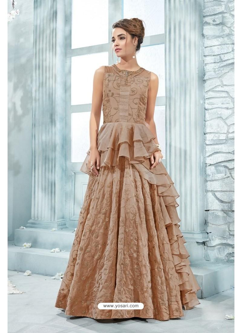 Light Brown Heavy Silk Hand Worked Designer Gown
