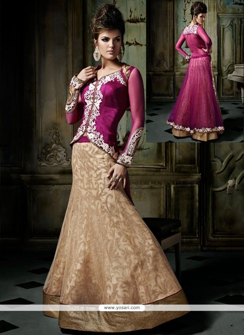 Lovely Cream Net Designer Lehenga Choli