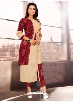 Cream Designer Readymade Kurti For Girls