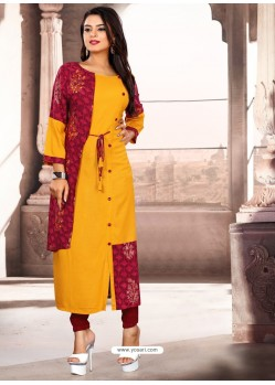 Yellow Designer Readymade Kurti For Girls