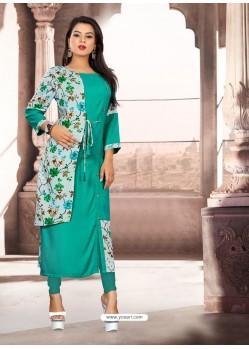 Aqua Mint Designer Readymade Kurti For Girls