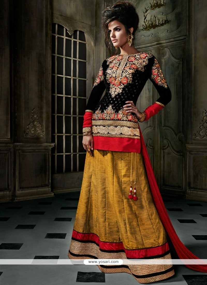 Black And Mustard Italian Silk Lehenga Choli