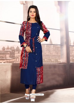 Navy Blue Designer Readymade Kurti For Girls