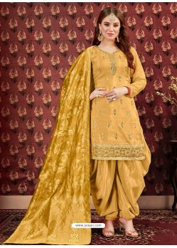 Yellow Designer Embroidered Punjabi Patiala Suits