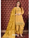 Yellow Designer Embroidered Punjabi Patiala Suits