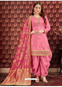 Light Pink Designer Embroidered Punjabi Patiala Suits
