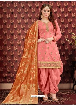 Peach Designer Embroidered Punjabi Patiala Suits